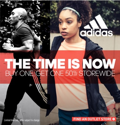 Coupon for: Buy one get one with discount at adidas outlet locations