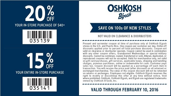 Coupon for: Save with coupon at OshKosh B'gosh locations