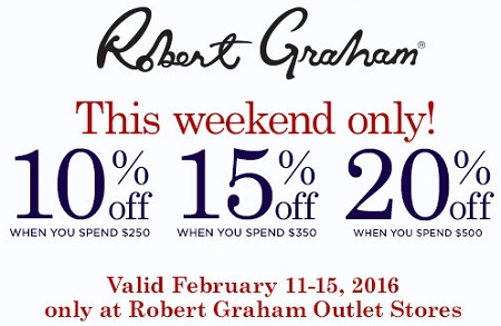 Coupon for: Presidents Sale at Robert Graham Outlet Stores