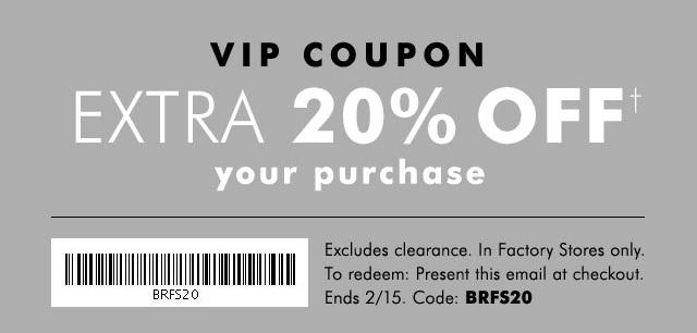 Coupon for: Banana Republic Factory VIP sale coupon