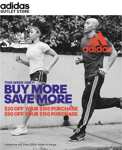 Coupon for: Buy more save more at adidas outlet locations