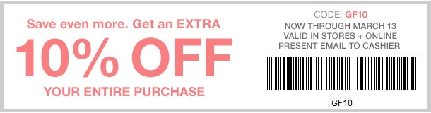 Coupon for: Save with savings pass at Gap Factory locations