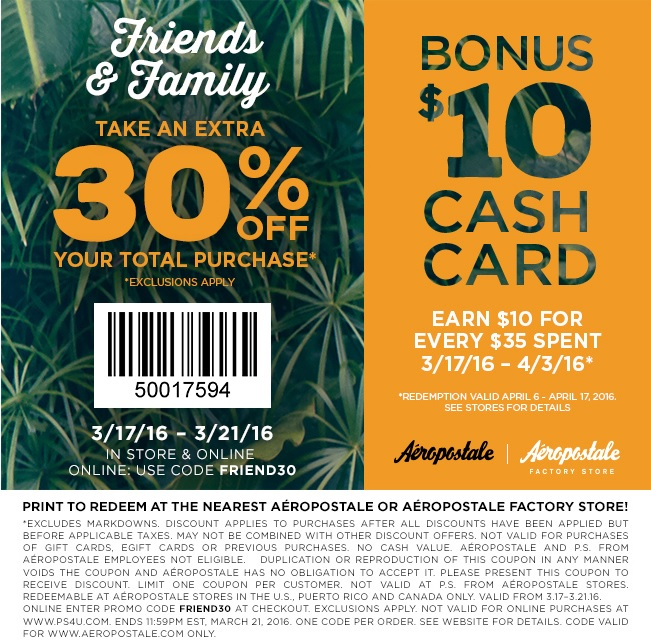 Coupon for: Friends & Family at Aéropostale locations