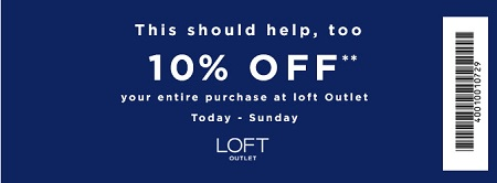 Coupon for: Spring styles on sale at LOFT Outlet Stores