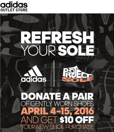 Coupon for: Refresh Your Sole at adidas outlet locations