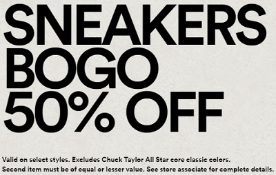 Coupon for: Bogo offer at Converse stores at Premium Outlets