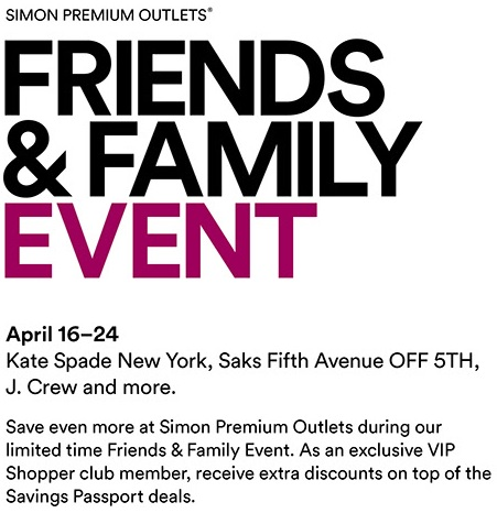 Coupon for: Friends & Family Event at Premium Outlets