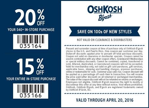 Coupon for: Print coupon and save at OshKosh B'gosh