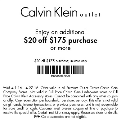 Coupon for: Save right now with printable coupon at Calvin Klein at Premium Outlets