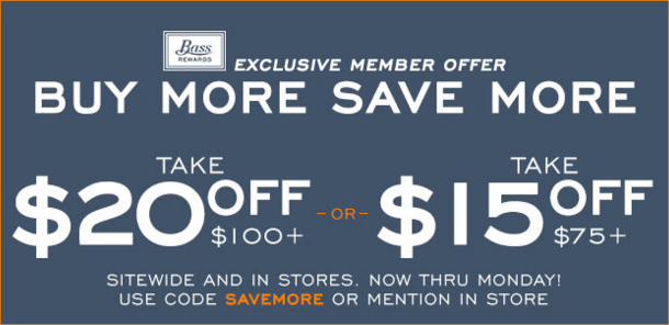 Coupon for: BOGO sale offer at G.H. Bass & Co. Factory Outlet