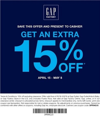 Coupon for: Sale at Gap Factory stores at Premium Outlets