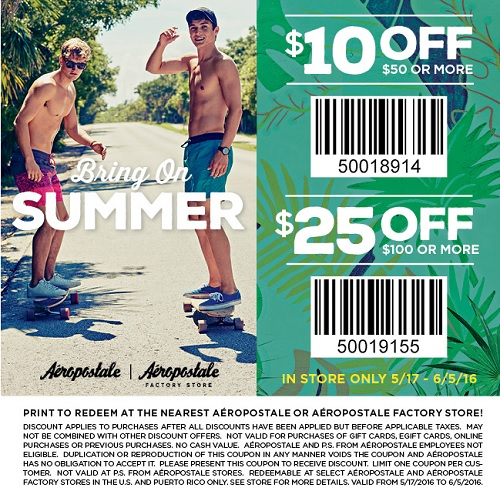 Coupon for: Summer Sale at Aéropostale Factory