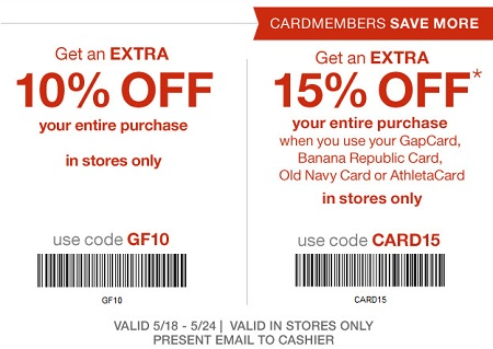 Coupon for: Save again at U.S. Gap Factory Stores