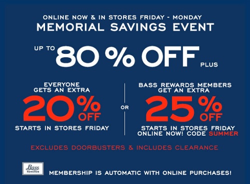 Coupon for: Memorial Savings Event at G.H. Bass & Co. Factory Outlet