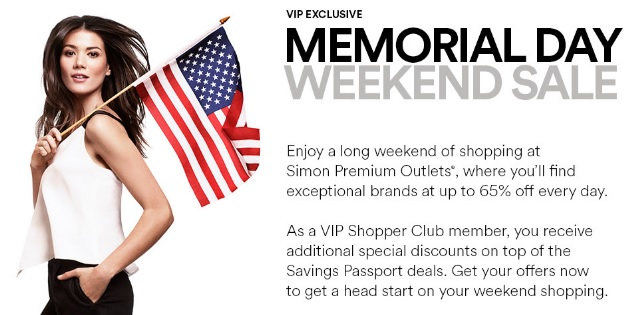 Coupon for: VIP exclusive Memorial Day Sale at Premium Outlets