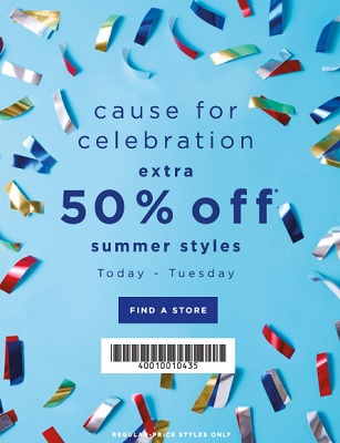 Coupon for: Celebrate right now at LOFT Outlet Stores