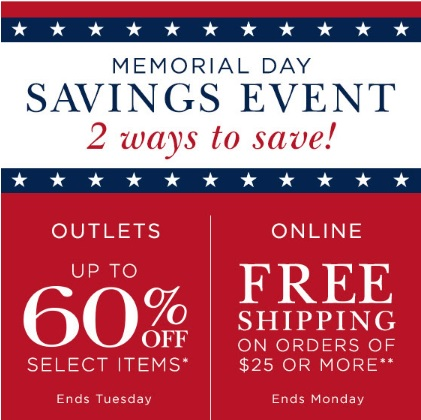 Coupon for: Memorial Day Long Weekend Sale at Crabtree & Evelyn Outlets