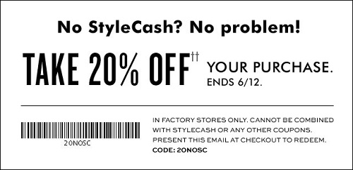 Coupon for: Redeem StyleCash at Banana Republic Factory