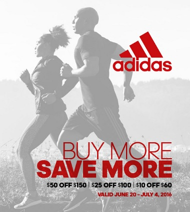 Coupon for: Buy More, Save More at adidas outlets