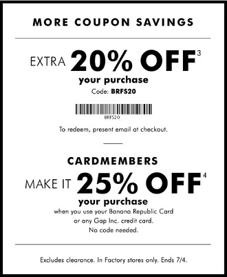 Coupon for: Shop the 4th of July sale at Banana Republic Factory