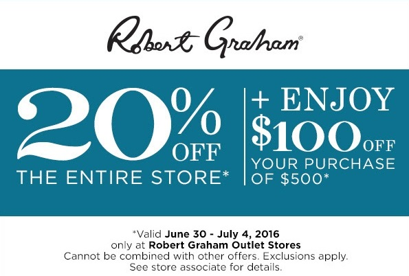 Coupon for: 4th of July Sale at Robert Graham Outlets