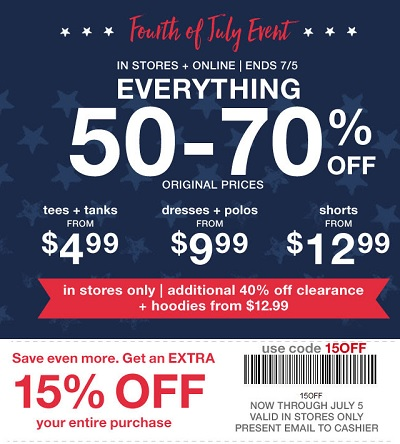 Coupon for: Fourth of July Event at Gap Factory Stores