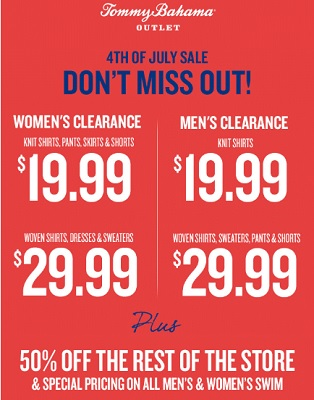 Coupon for: Don't miss out great savings at Tommy Bahama Outlets