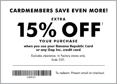 Coupon for: U.S. Banana Republic Factory: Go big at the Summer Clearance Event