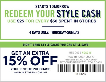 Coupon for: Redeem your Style Cash at Gap Factory