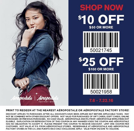 Coupon for: Print coupon and save at Aéropostale Factory Stores