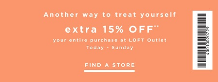 Coupon for: Save with coupon at LOFT outlet stores