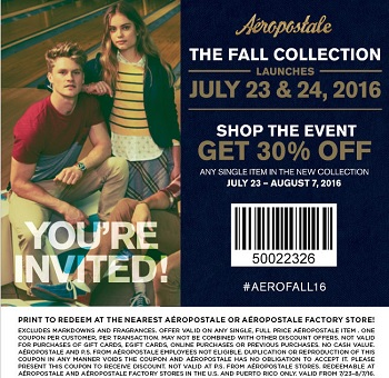 Coupon for: Save at Aéropostale Factory Stores