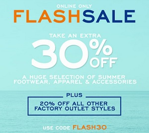 Coupon for: Online Flash Sale at G.H. Bass & Co. Factory Outlet