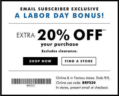 Coupon for: Labor Day Sale at Banana Republic Factory