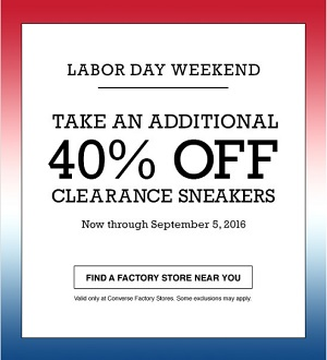 Coupon for: A Sale to Celebrate Labor Day at Converse Factory