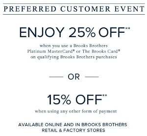 Coupon for: Prefered Customer Event at Brooks Brothers Factory Stores