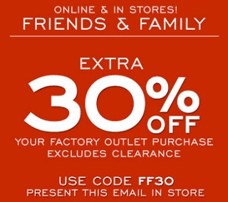 Coupon for: Friends & Family Sale Event at G.H. Bass & Co. Factory Outlet