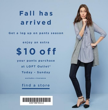 Coupon for: Pants on Sale at LOFT Outlets