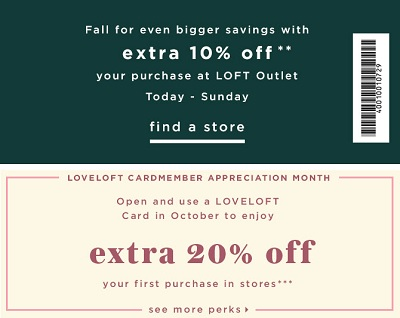 Coupon for: Fall's favorite on Sale at LOFT Outlet stores in the United States