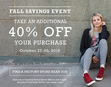 Coupon for: Be the First in Line at Converse Factory Stores