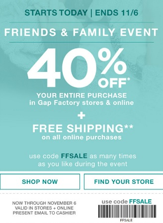 Coupon for: Enjoy shopping during Friends & Family Event at Gap Factory