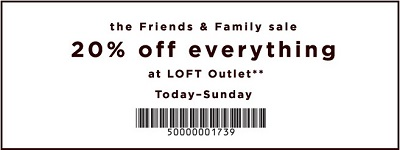 Coupon for: U.S. LOFT Outlet Deal: Save 20% off your purchase