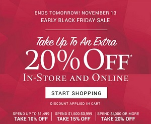 Coupon for: Zales Outlet Early Black Friday Savings