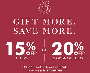 Coupon for: Gift More, Save More at U.S. Banana Republic Factory Stores