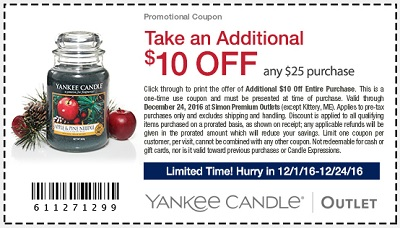 Coupon for: Yankee Candle Outlet Sale at Premium Outlets