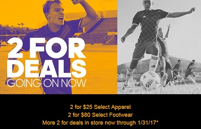 Coupon for: 2 For Deals going on at adidas Outlet Stores