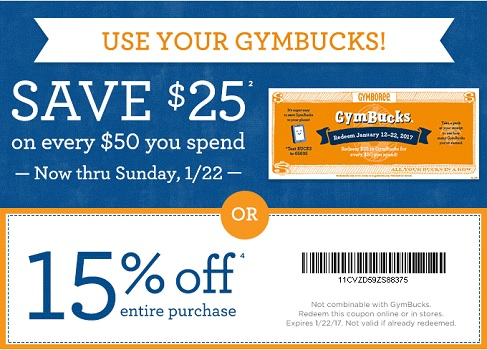 Coupon for: Save money at U.S. Gymboree Outlet Stores thanks to Gymbucks