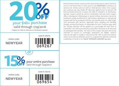 Coupon for: U.S. carter's Printable Coupon Savings