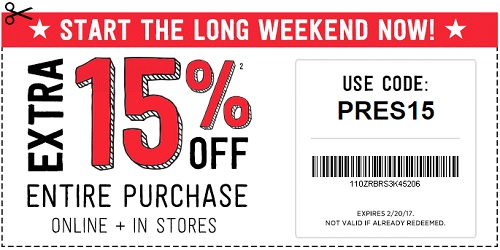 Coupon for: U.S. Crazy 8 Outlets: President's Day Sale - up to 70% off