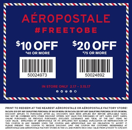 Coupon for: U.S. Aéropostale Factory Stores: Up to $20 off your purchase